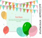 happy birthday card with... | Shutterstock .eps vector #609022199