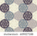 damask pattern. endless pattern ... | Shutterstock .eps vector #609027188