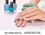 beautiful new women's manicure... | Shutterstock . vector #609030158