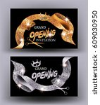 grand opening cards with gold... | Shutterstock .eps vector #609030950