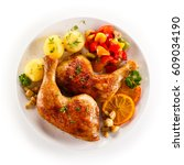 roast chicken leg  | Shutterstock . vector #609034190