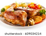 roast chicken leg  | Shutterstock . vector #609034214