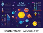 solar system infographics with... | Shutterstock .eps vector #609038549