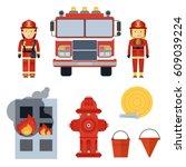 set of firefighter equipment... | Shutterstock .eps vector #609039224