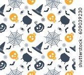 vector halloween seamless... | Shutterstock .eps vector #609039230
