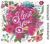 vector set of love cards ... | Shutterstock .eps vector #609040466