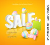 poster for easter sales with 3d ... | Shutterstock .eps vector #609040808