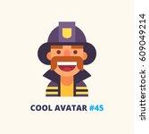 fireman vector icon.... | Shutterstock .eps vector #609049214