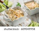 baked gratin casserole chicken... | Shutterstock . vector #609049958