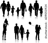 set silhouette of happy family... | Shutterstock .eps vector #609053924