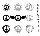 set of hippie vintage peace... | Shutterstock .eps vector #609053960