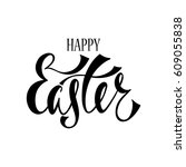 happy easter greeting card.... | Shutterstock .eps vector #609055838