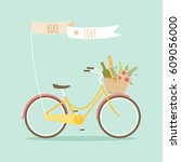 bicycle with picnic basket and...   Shutterstock .eps vector #609056000