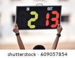 player substitution board | Shutterstock . vector #609057854