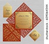 wedding invitation or greeting... | Shutterstock .eps vector #609064544