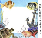 Watercolor Tropic Sea Frame....