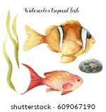Watercolor Tropical Fish. Hand...