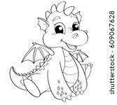 cute cartoon dragon. black and... | Shutterstock .eps vector #609067628