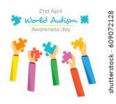world autism day awareness... | Shutterstock .eps vector #609072128