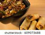 chinese food  spring rolls and... | Shutterstock . vector #609073688