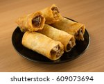 chinese food  spring rolls... | Shutterstock . vector #609073694