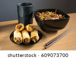 chinese food  spring rolls and... | Shutterstock . vector #609073700