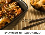 chinese food  spring rolls and... | Shutterstock . vector #609073820