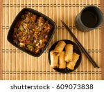 chinese food  spring rolls and... | Shutterstock . vector #609073838