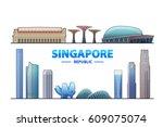 singapore. vector illustration. ... | Shutterstock .eps vector #609075074