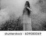 halloween horror composition.... | Shutterstock . vector #609080069