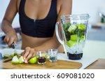 above shot of the ingredients... | Shutterstock . vector #609081020