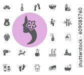 beauty woman icon. spa set... | Shutterstock .eps vector #609085760