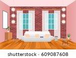 living room interior in hipster ... | Shutterstock .eps vector #609087608