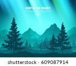 mountains and forest. wild... | Shutterstock .eps vector #609087914