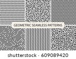 collection of striped seamless... | Shutterstock .eps vector #609089420
