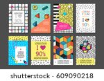 memphis cards and posters with... | Shutterstock .eps vector #609090218