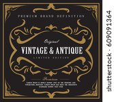 whiskey vintage border antique... | Shutterstock .eps vector #609091364