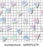 diamond with holographic effect ... | Shutterstock .eps vector #609091379