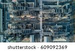 aerial view oil refinery ... | Shutterstock . vector #609092369