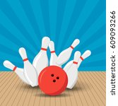 poster games in the bowling... | Shutterstock .eps vector #609093266