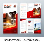 tri fold brochure design. red...