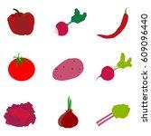 red vegetables  icon  logo ... | Shutterstock .eps vector #609096440