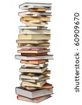 high books stack isolated on... | Shutterstock . vector #60909670