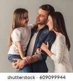 charming little girl and her... | Shutterstock . vector #609099944