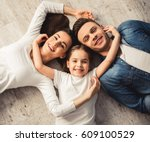 top view of cute little girl... | Shutterstock . vector #609100529