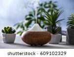 aroma oil diffuser and... | Shutterstock . vector #609102329