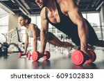 attractive sports people are... | Shutterstock . vector #609102833