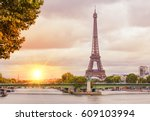 romantic sunset background.... | Shutterstock . vector #609103994