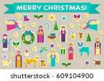 merry christmas sticker icons... | Shutterstock .eps vector #609104900