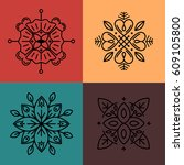 vector abstract emblems  ... | Shutterstock .eps vector #609105800
